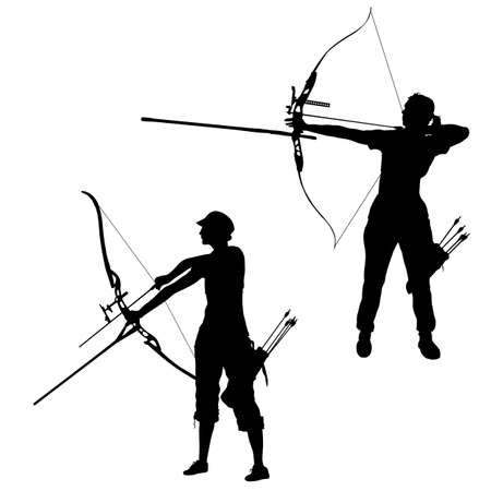 Establecer la silueta atractiva arquera femenina doblando un arco y apuntando al objetivo.