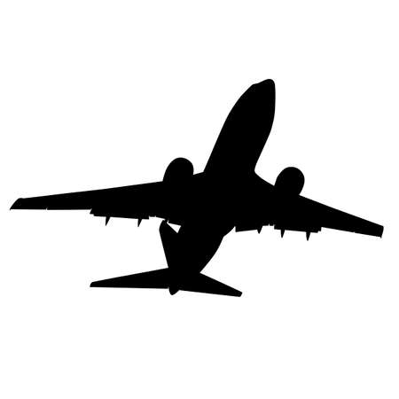 Silhouettes of planes on a white background. Vettoriali