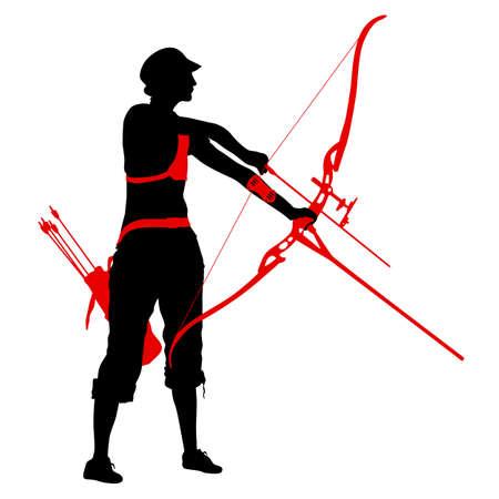 Arquero femenino atractivo de la silueta doblando un arco y apuntando en el objetivo.