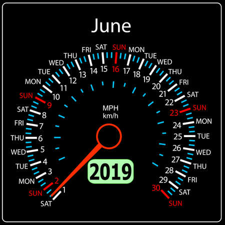 The 2019 year calendar speedometer a car June. Stock Illustratie