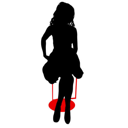 Silhouette girl sitting on a chair white background.