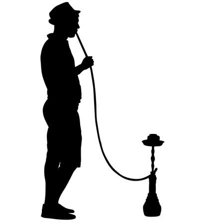 Silhouette of a man smoking a hookah standing beside him.