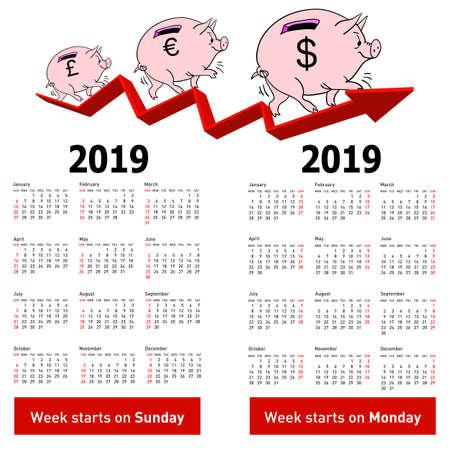 Stylish calendar Pig piggy bank for 2019 Sundays first