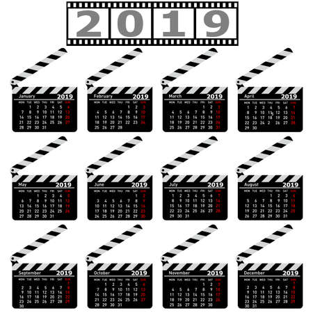 Calendar for 2019, movie clapper board on a white background.