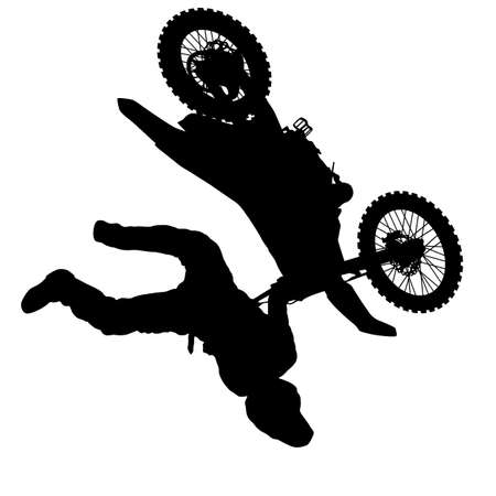 Siluetta del motociclista che esegue trucco su priorità bassa bianca.