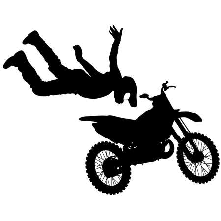 Silhouette of motorcycle rider performing trick on white background. Banque d'images - 109742235