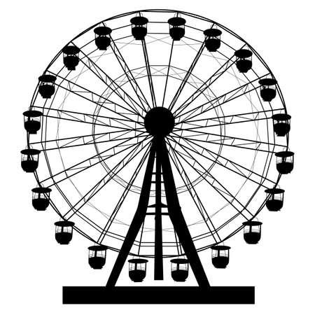 Silhouette atraktsion colorful ferris wheel on white background illustration.