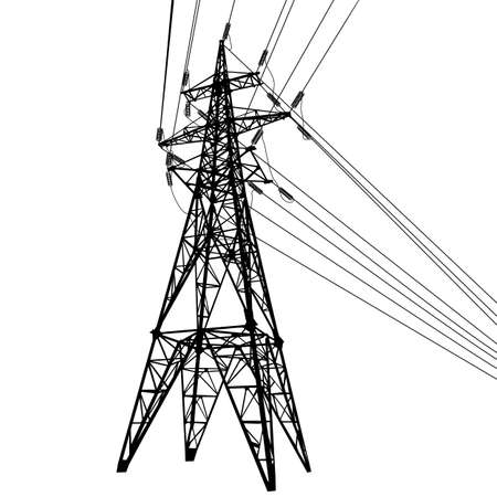 Silhouette of high voltage power lines on white background illustration.