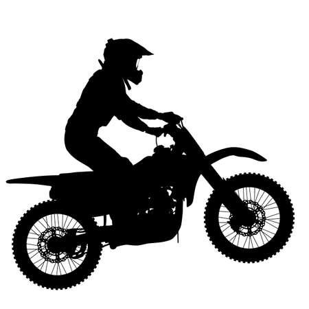 Sylwetka motocyklista wykonujący sztuczkę na białym tle.
