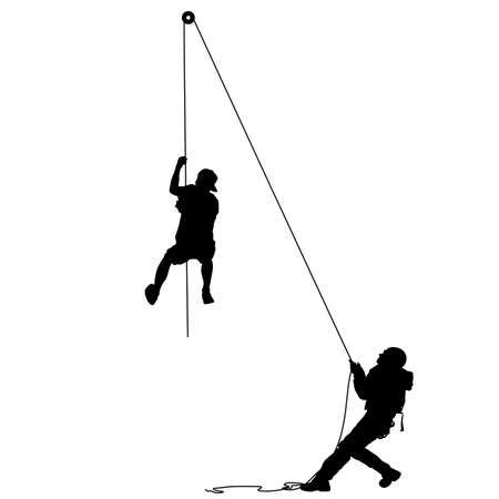 Black silhouette craftsman pulling rope on white background. Standard-Bild - 109742240
