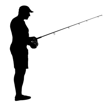 Fisherman and fishing rod isolated on white background. Vettoriali