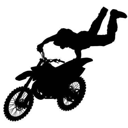 Silueta de motociclista realizando truco sobre fondo blanco. Ilustración de vector