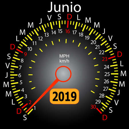 2019 year calendar speedometer car in Spanish June. Stock Illustratie