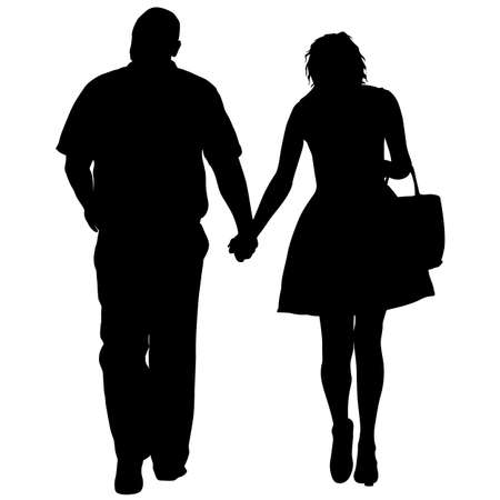 Couples man and woman silhouettes on a white background. Ilustração
