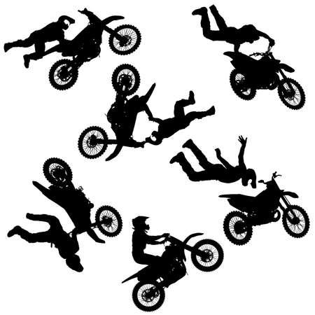 Stellen Sie die Silhouette des Motorradfahrers ein, der Trick auf weißem Hintergrund durchführt. Vektorgrafik