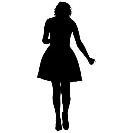 Black silhouette woman standing, people on white background. 矢量图像