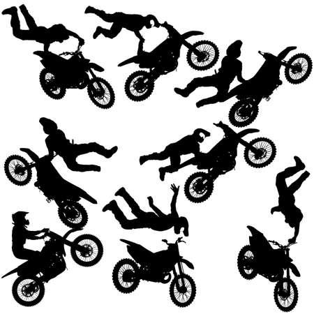 Stellen Sie die Silhouette des Motorradfahrers ein, der Trick auf weißem Hintergrund durchführt.