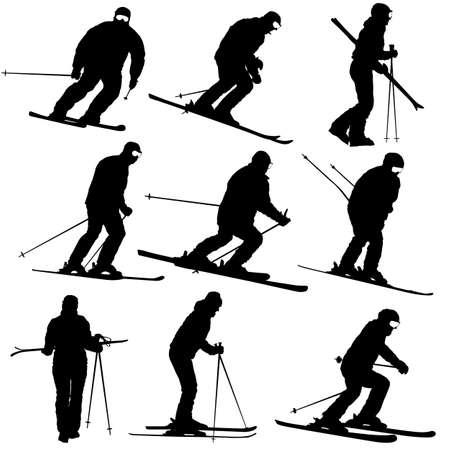 Set mountain skier speeding down slope sport silhouette.
