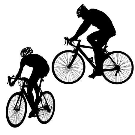Metta la siluetta di un maschio del ciclista su fondo bianco.