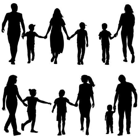 Ustaw sylwetkę szczęśliwej rodziny na białym tle.
