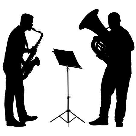 Silhouette de musicien jouant du saxophone et du tuba sur fond blanc.