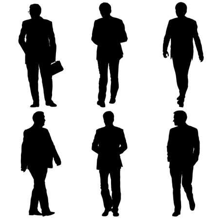 Ustaw sylwetka biznesmen człowieka w garniturze na białym tle.