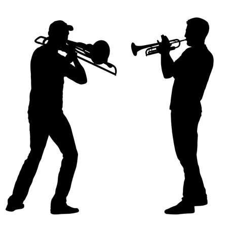 Silhouette des Musikers, der Posaune und Trompete auf weißem Hintergrund spielt.