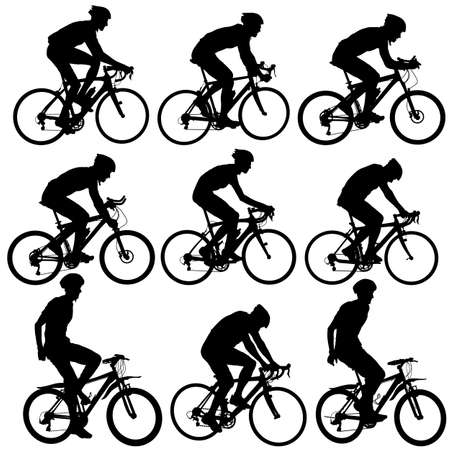 8261 Cyclist Silhouette Stock Vector Illustration And Royalty Free