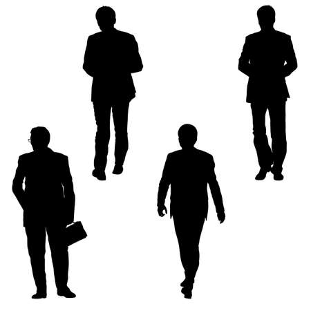 Stel silhouet zakenman man in pak op een witte achtergrond.
