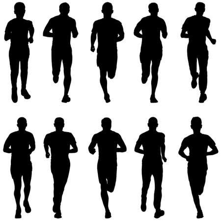 Zestaw sylwetek. Biegacze na sprinterkach.