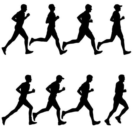 Zestaw sylwetek. Biegacze na sprinterkach. Ilustracje wektorowe