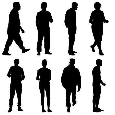 Schwarze Schattenbildgruppe der Leute, die in verschiedenen Posen stehen.