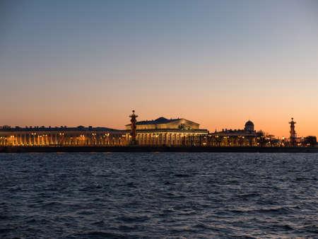 Sky of the sunset over the exchange of Vasilievsky island. Saint Petersburg, Russia.