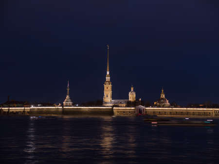 Peter and Paul Fortress night is the original citadel of St. Petersburg, Russia.