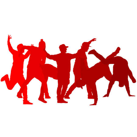 Set Silhouettes breakdancer on a white background. Ilustração