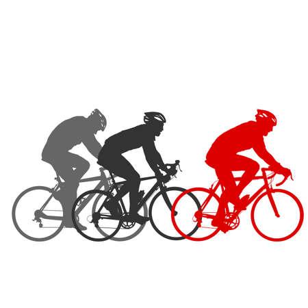 Establecer la silueta de un ciclista masculino sobre fondo blanco. Ilustración de vector