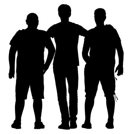 Silhouette noire trois hommes se tiennent enlacés sur fond blanc.