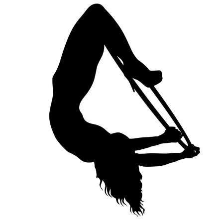 Silhouette woman doing some acrobatic elements aerial hoop on a white background. Ilustração Vetorial