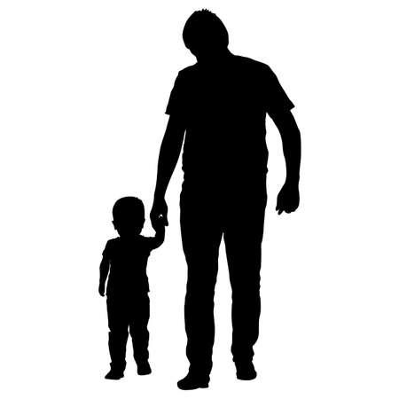 Silhouette de famille heureuse sur fond blanc.