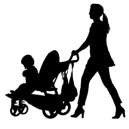 Silhouettes walkings mothers with baby strollers on white background.