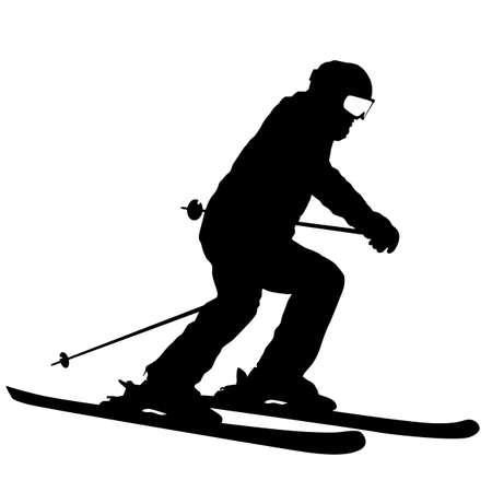 Esquiador de montaña a toda velocidad cuesta abajo silueta deportiva.