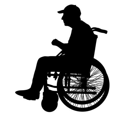 Silhouettes disabled in a wheel chair on a white background.