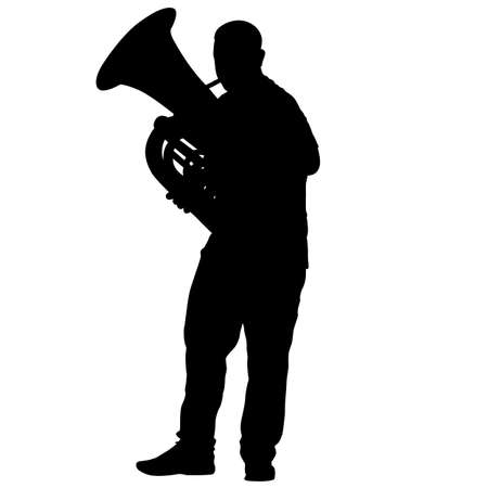 Silhouette of musician playing the tuba on a white background.