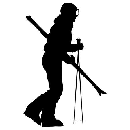 Mountain skier with skis removed sport silhouette.