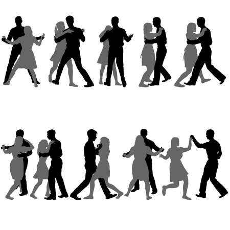 Black set silhouettes dancing man and woman on white background. Illustration