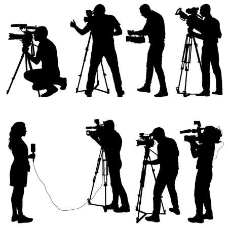Set cameraman with video camera. Silhouettes on white background. Illustration