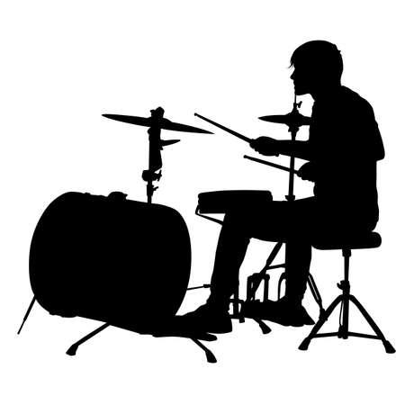 Silhouette musician drummer on white background, vector illustration.