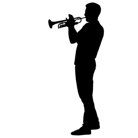 Silhouette of musician playing the trumpet on a white background.