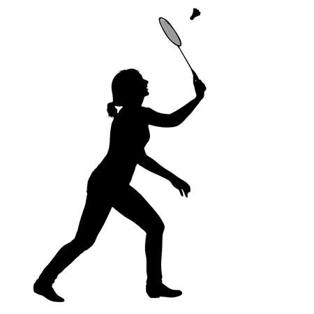 Black silhouette of female badminton player on white background.