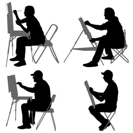 Set silhouette, artist at work on a white background. Archivio Fotografico - 124106307